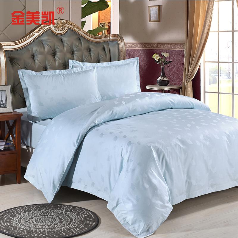 酒店四件套全棉五星级宾馆床上用品床单被套枕套贡缎纯白双人简约