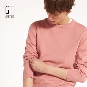 萨缇尼 男士纯棉纯色圆领针织衫