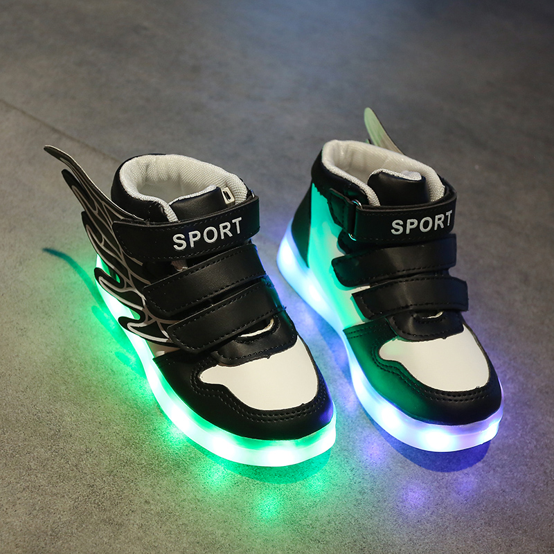 New USB charging light childrens shoes spring and autumn boys and girls shoes with lights, noctilucent ghost steps and colorful luminous shoes