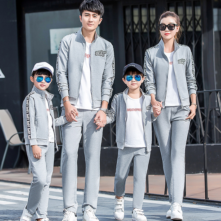 A family of three parents and children spring and autumn 2021 foreign style home decoration mother and son mother and daughter four sports clothes family suit cotton
