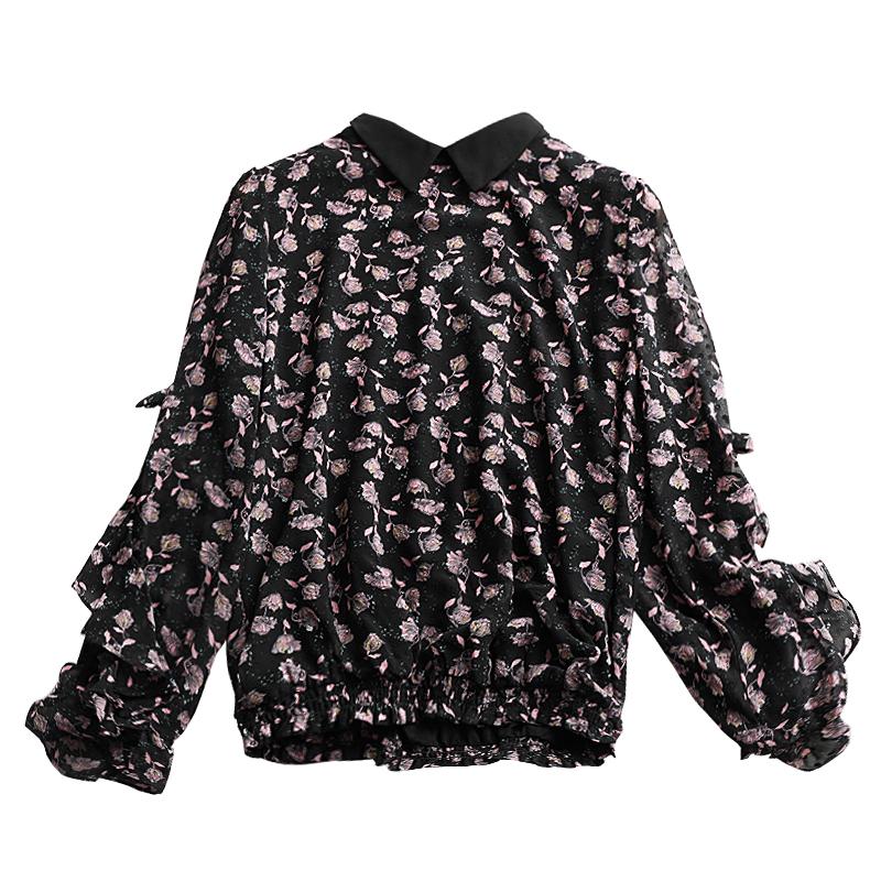 上身比想象中的还美 法式风小翻领小玫瑰印花荷叶边点缀雪纺罩衫