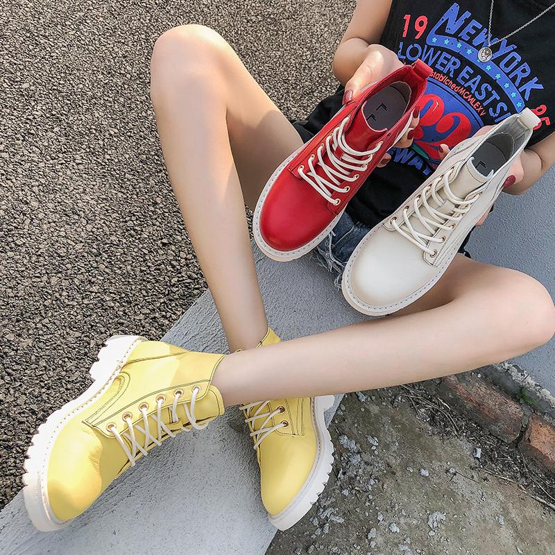 真皮马丁靴女夏季2019新款百搭短靴中筒透气英伦风白红色网红高帮