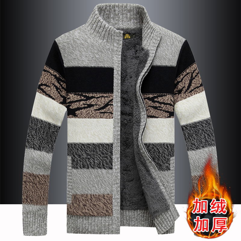 男士外套冬季加绒立领长袖针织衫