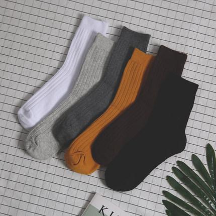 韩国INS日系韩版基础复古条纹简约纯色中筒棉袜子 男女生情侣长袜