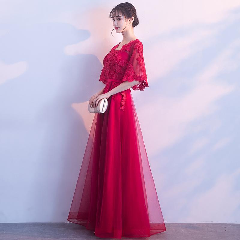 新娘敬酒服2018新款春夏长款显瘦高腰遮肚孕妇结婚晚礼服裙女红色