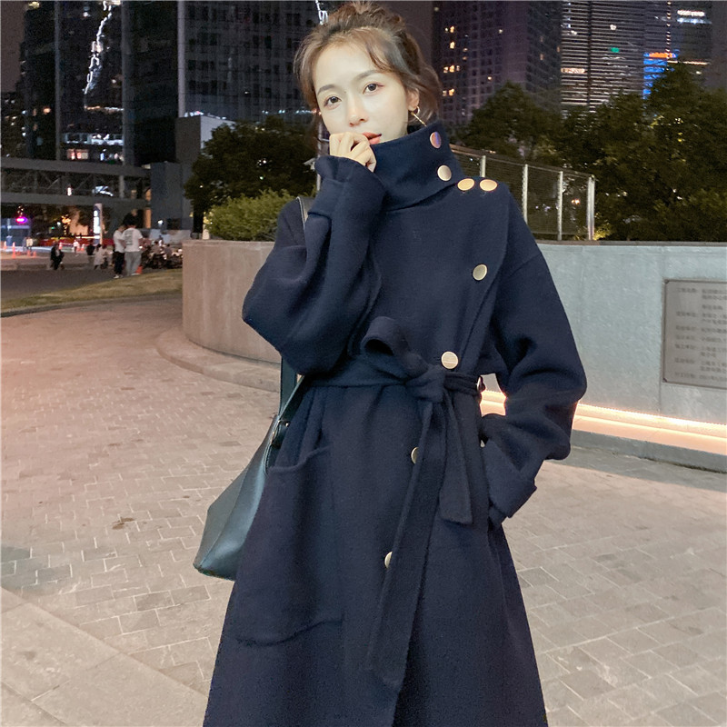 Dark woolen coat spring mid long new Korean loose cotton padded and thickened woolen coat