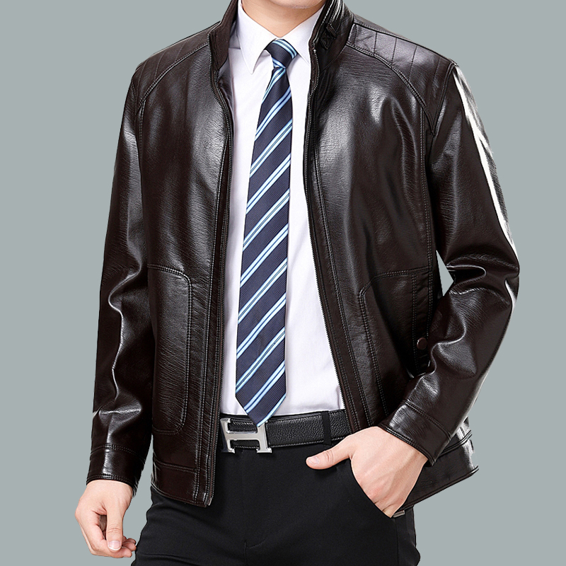 New Haining leather clothes mens autumn and winter middle-aged and elderly leather jacket plus velvet thickened large dad loose coat
