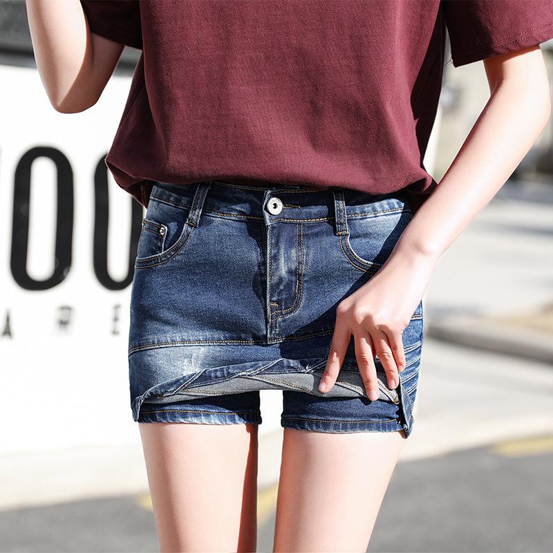 2019夏季新款韩版牛仔短裤女裙裤弹力修身裤裙半身裙女短裙热裤子
