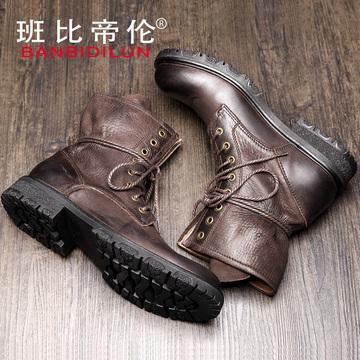 冬季真皮英伦高帮马丁靴男工装靴复古中帮男靴潮圆头中筒军靴皮靴