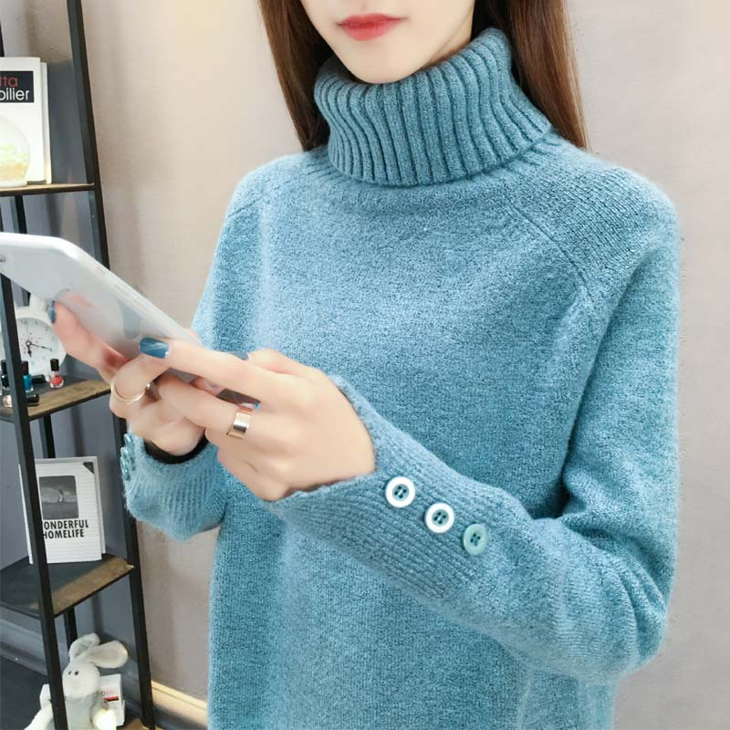 High neck sweater womens 2020 new womens Pullover warm thickened knitted bottomed shirt with long sleeve foreign style loose