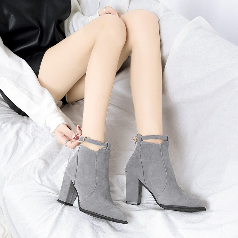 巴宝莉Burberry欧美短靴女靴子粗跟女士高跟鞋尖头拉链单靴ASL548