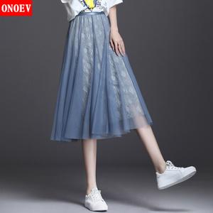 Onoev女裝2021春夏季新款半身裙高腰短裙百褶網紗裙傘裙中裙子女