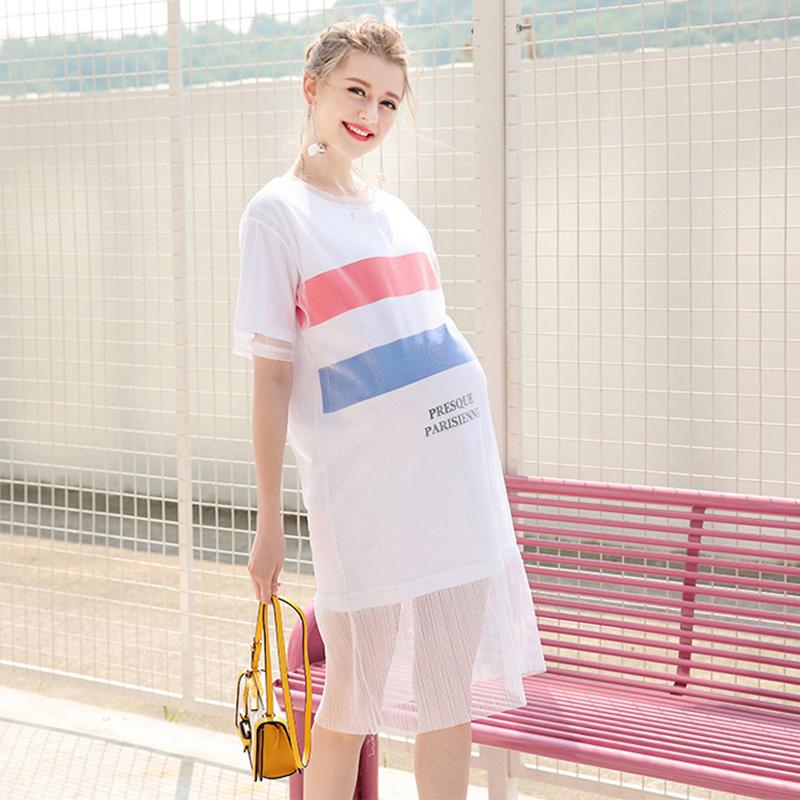 SW婕西孕婦裝夏裝網紗短袖T恤連衣裙兩件套 孕婦裙套裝D4767