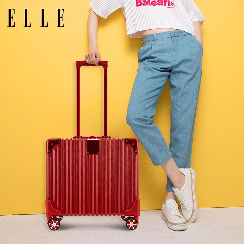 ELLE17寸商务登机箱铝框拉杆箱迷你旅行箱出差小行李箱轻便密码箱