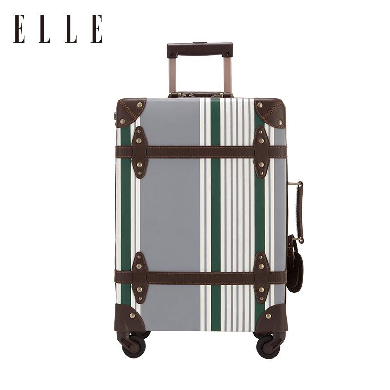 ELLE时尚复古旅行箱印花拉杆箱万向轮海关锁23寸行李箱19寸登机箱