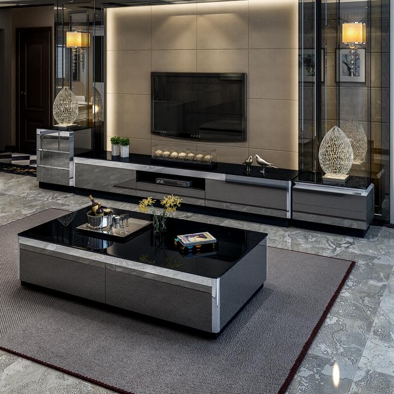 茶几简约现代 轻奢小户型客厅北欧钢化玻璃茶几电视柜组合大理石