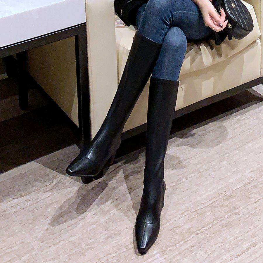 2020秋冬新款弹力显瘦皮靴长筒靴女不过膝粗跟小个子高筒靴女靴子