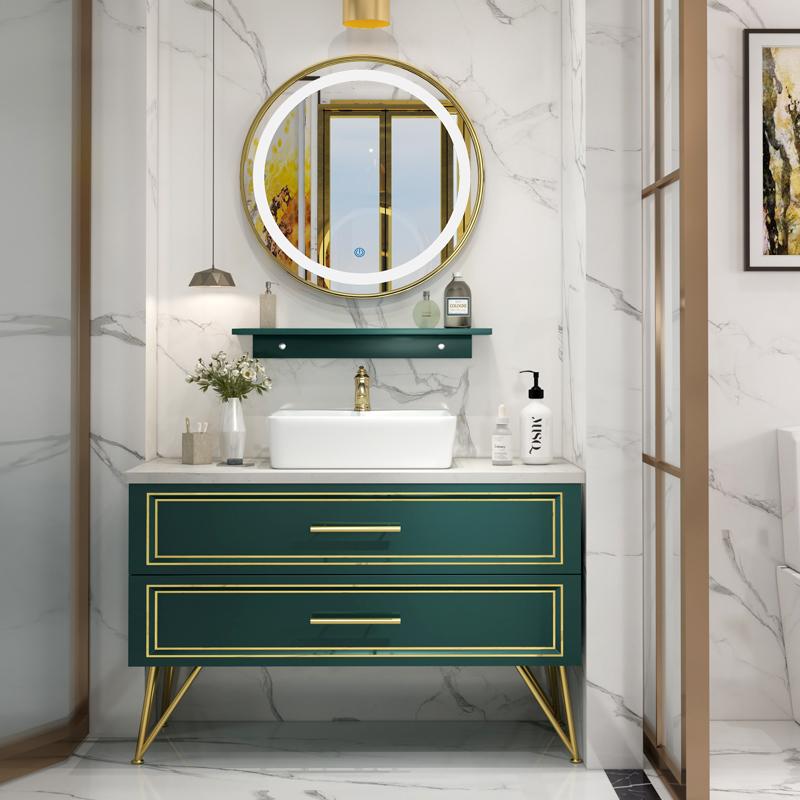 1799.00元包邮墨绿色智能北欧轻奢洗手台浴室柜