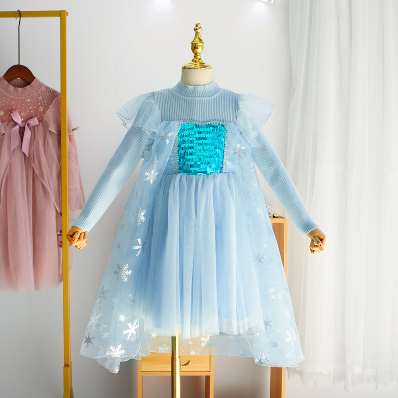 Aisha Princess Dress Girls autumn and winter childrens dress snow and ice strange fate Plush outer wear Christmas outer wear wool dress