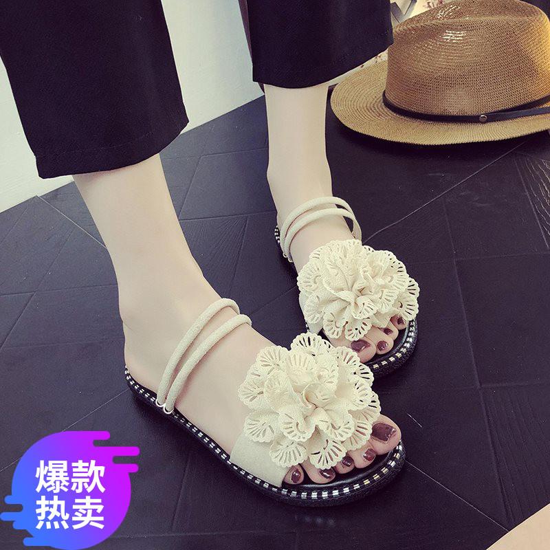 凉鞋拖鞋两穿女2019夏仙女风百搭凉鞋平底海边女外穿网红度假新款