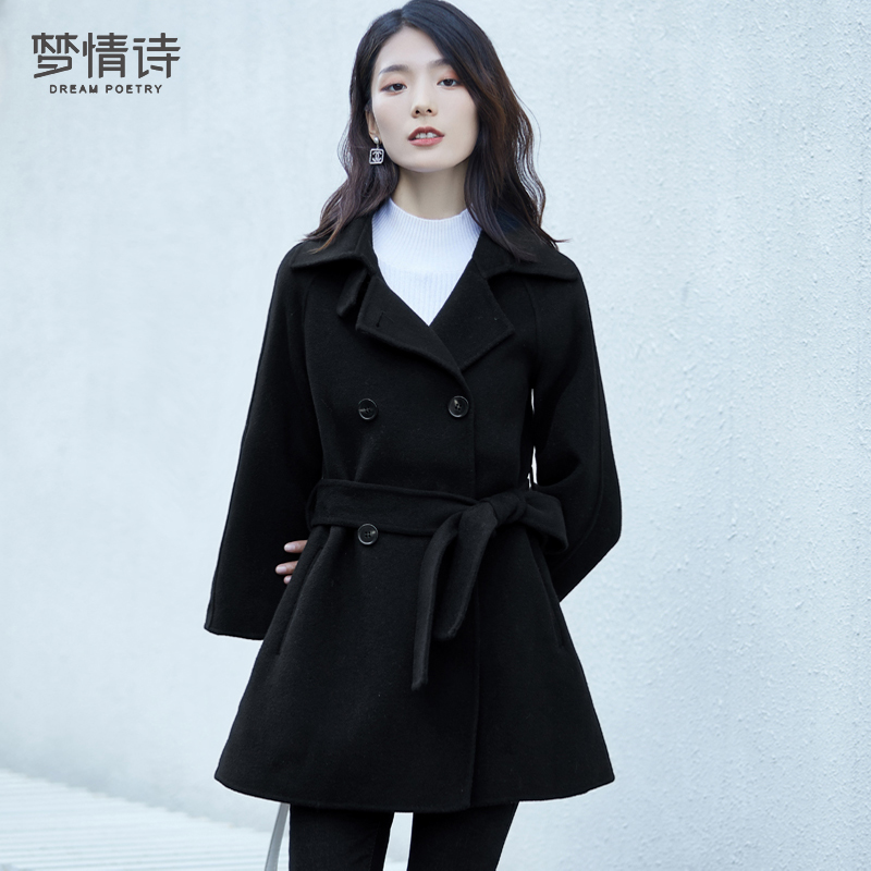 Double-faced cashmere coat women's 2020 new autumn and winter look thin woolen cloth mid-length small black coat