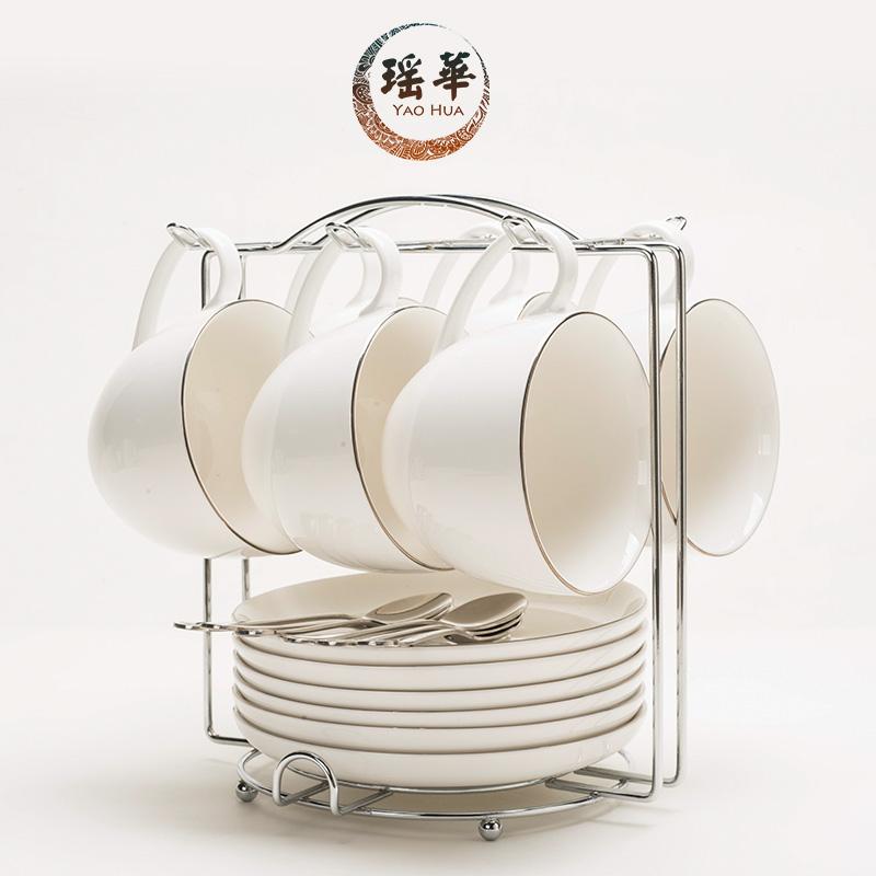 瑤華 陶瓷杯歐式咖啡杯套裝簡約黃金鑲邊 6件套咖啡杯碟勺架子