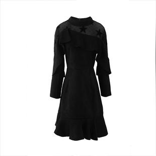 黑色顯瘦裙子高端氣質荷葉邊長袖魚尾裙連衣裙女秋冬季2020年新款
