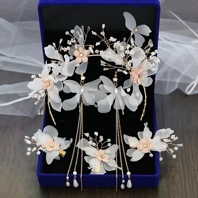 正品保证超仙新娘头饰汉服发饰结婚森系仙美发夹耳环套装婚纱礼服配品白色