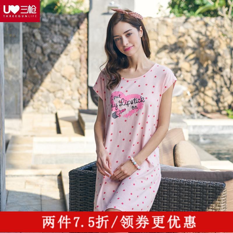 三枪睡裙纯棉女士夏季薄款可爱甜美印花圆领短袖甜美 家居服70301