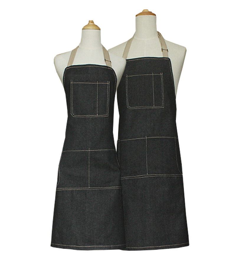 Lengthened Cotton Apron fashion wash denim thick kitchen mens and womens Japanese work clothes
