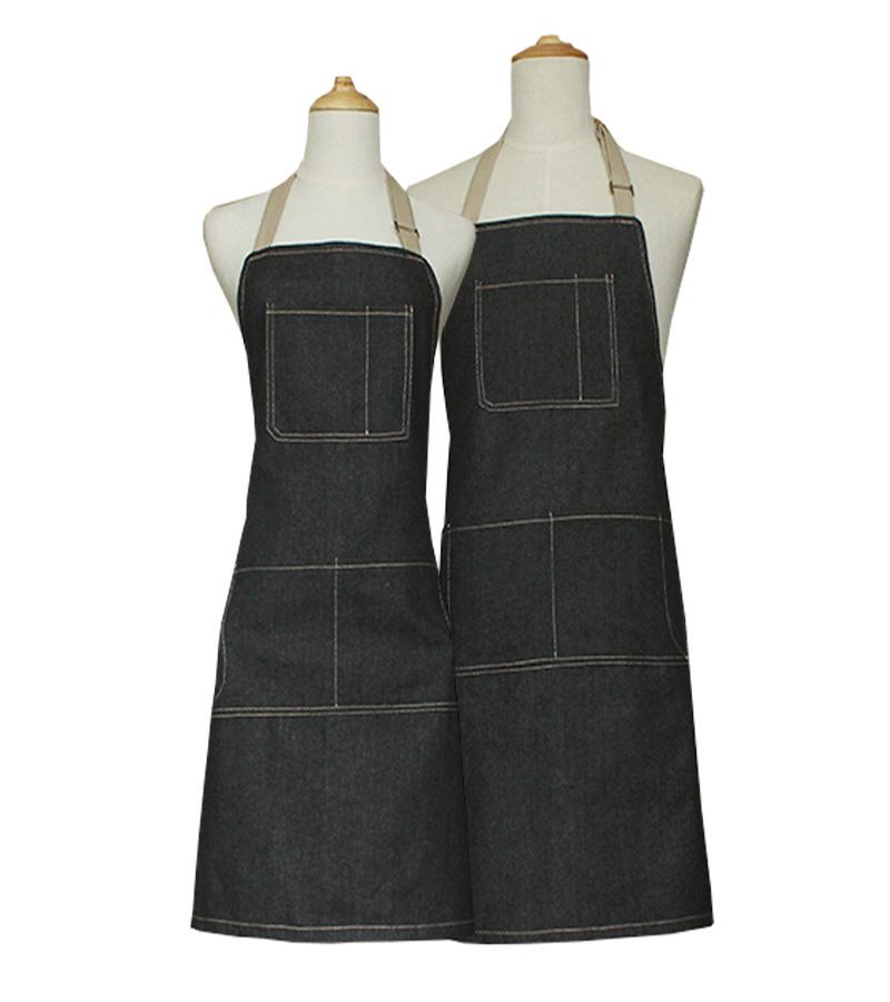 加长全棉围裙 时尚 水洗牛仔厚款厨房男女通用日式工作服