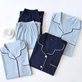 家居套装 纯棉开衫 居家服 春秋季 男女士针织棉睡衣日系简约情侣长袖