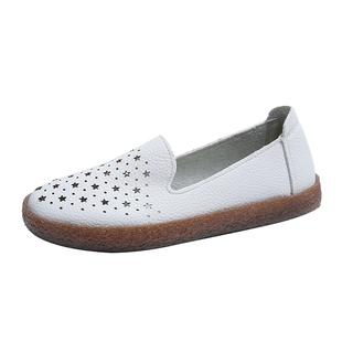镂空小白鞋2020夏秋牛筋底软底皮鞋