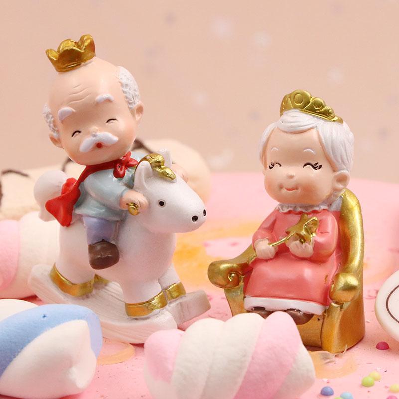 生日蛋糕寿星国王皇后装饰摆件老人过寿爸妈金婚银婚礼物寿星公婆