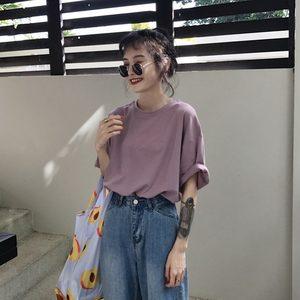 韩国夏季简约宽松圆领卷边短袖纯色基础打底衫T恤上衣女糖果色TEE
