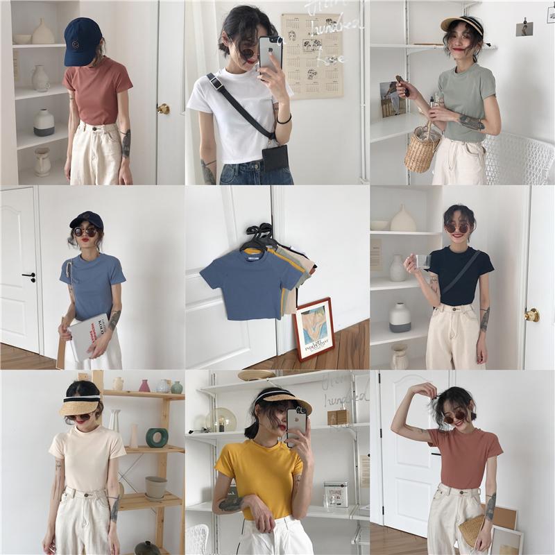 夏季韩版女装纯色百搭修身超显瘦弹力多色螺纹插肩圆领短袖T恤衫