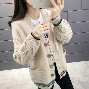 很仙的短外套小个子2019春秋新款宽松针织衫开衫女韩版女士毛衣女