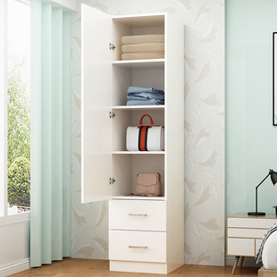 储物柜 简约现代单门衣柜儿童窄小衣柜简易实木衣橱收纳柜 阳台柜