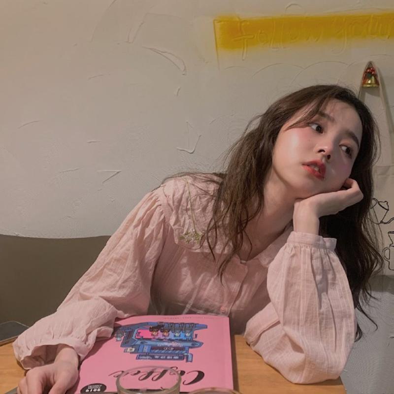2019秋季新款上衣女宽松韩版学生小清新粉色长袖娃娃衫少女感衬衫(用5.02元券)