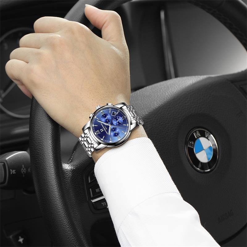 瑞之缘手表男士运动石英非机械防水时尚皮带夜光精钢带男表手腕表