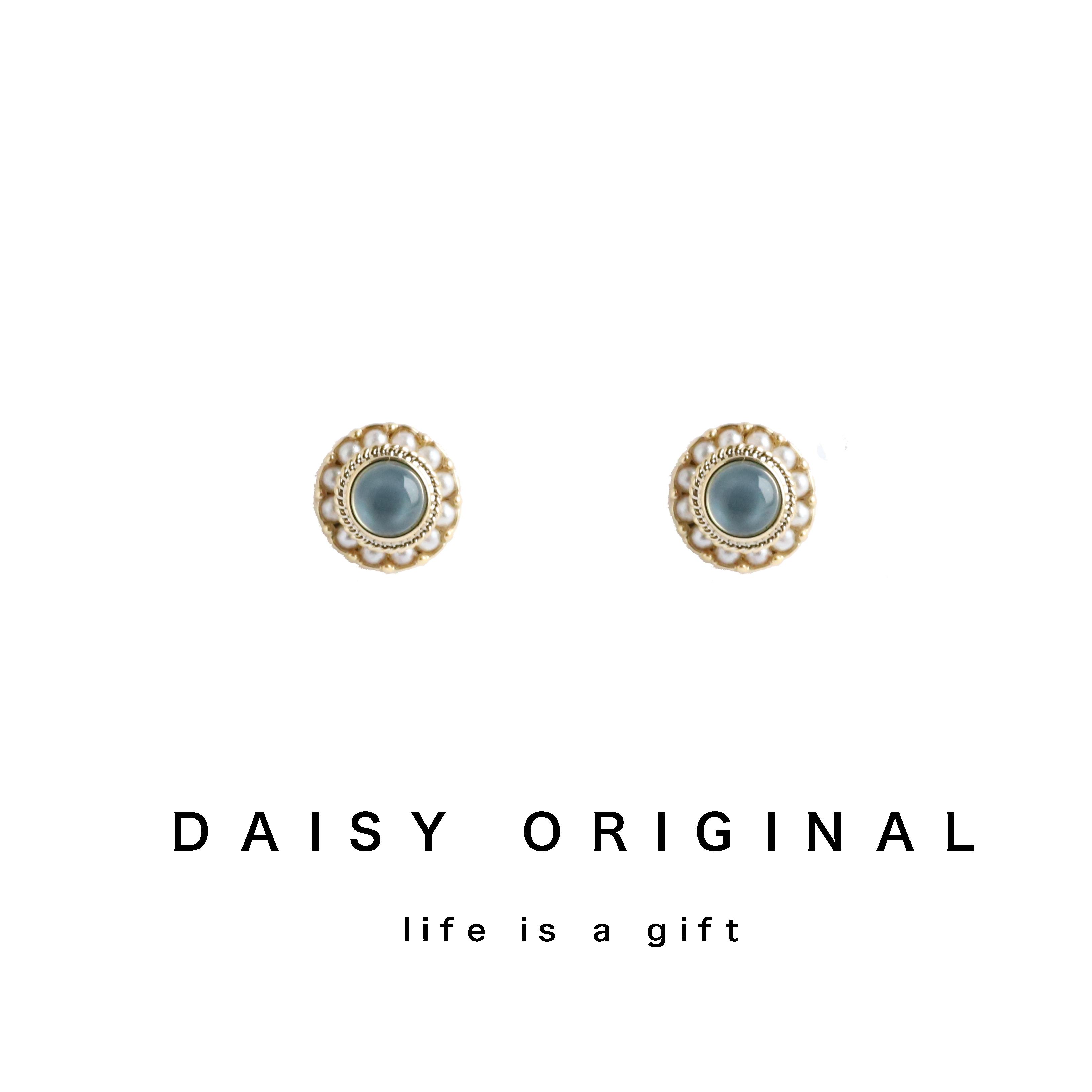 daisy定制 复古巴洛克轻奢精致圆形水晶珍珠耳钉s925银耳环耳夹26.00元包邮