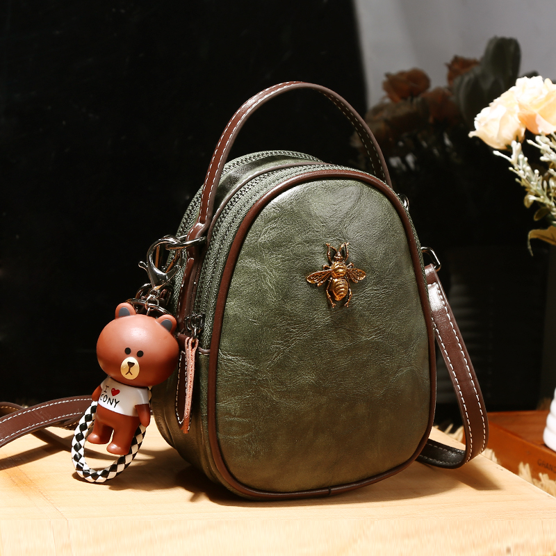 Womens bag small bag new leather small round bag in spring and summer of 2021