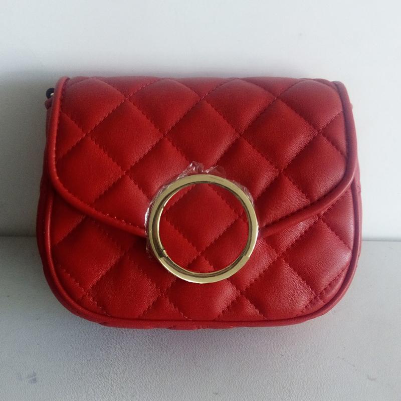 经典新款欧美时尚磁扣红色酒红色金色羊皮刺绣菱格包女包斜跨包