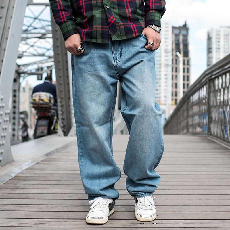 潮胖子加肥加大码男式牛仔裤 嘻哈宽松萝卜裤 BBOY滑板裤男长裤子