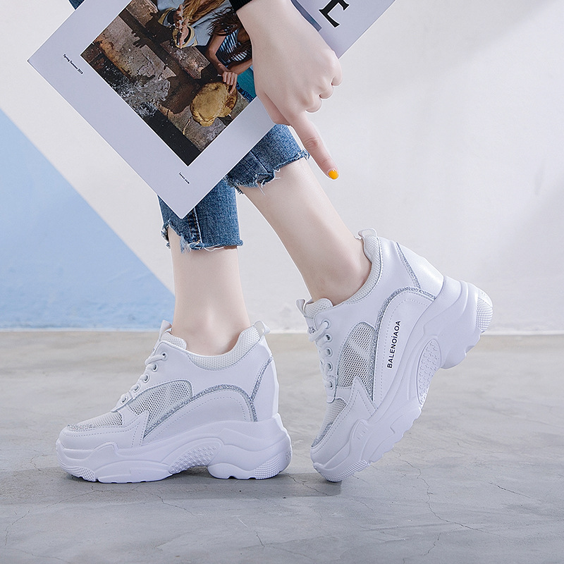 Mesh womens sandals inner heightening small white shoes lace up thick soled casual shoes genuine leather sports shoes daddy shoes waterproof platform tide
