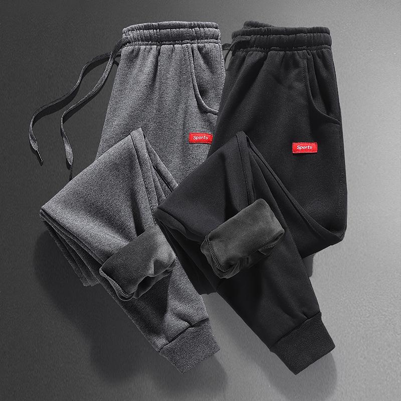 保暖加绒长裤子男士休闲裤秋冬季新加厚款带绒外穿加棉裤运动卫裤