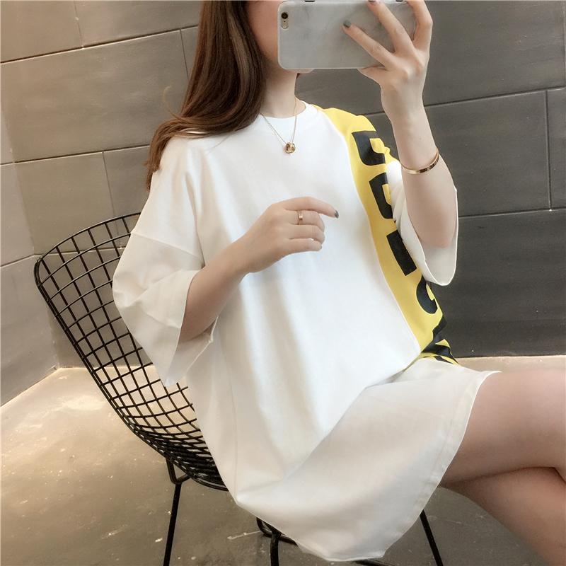 韩版潮流时尚女装洋气2020年夏季新品个性侧边字母拼色大码短袖