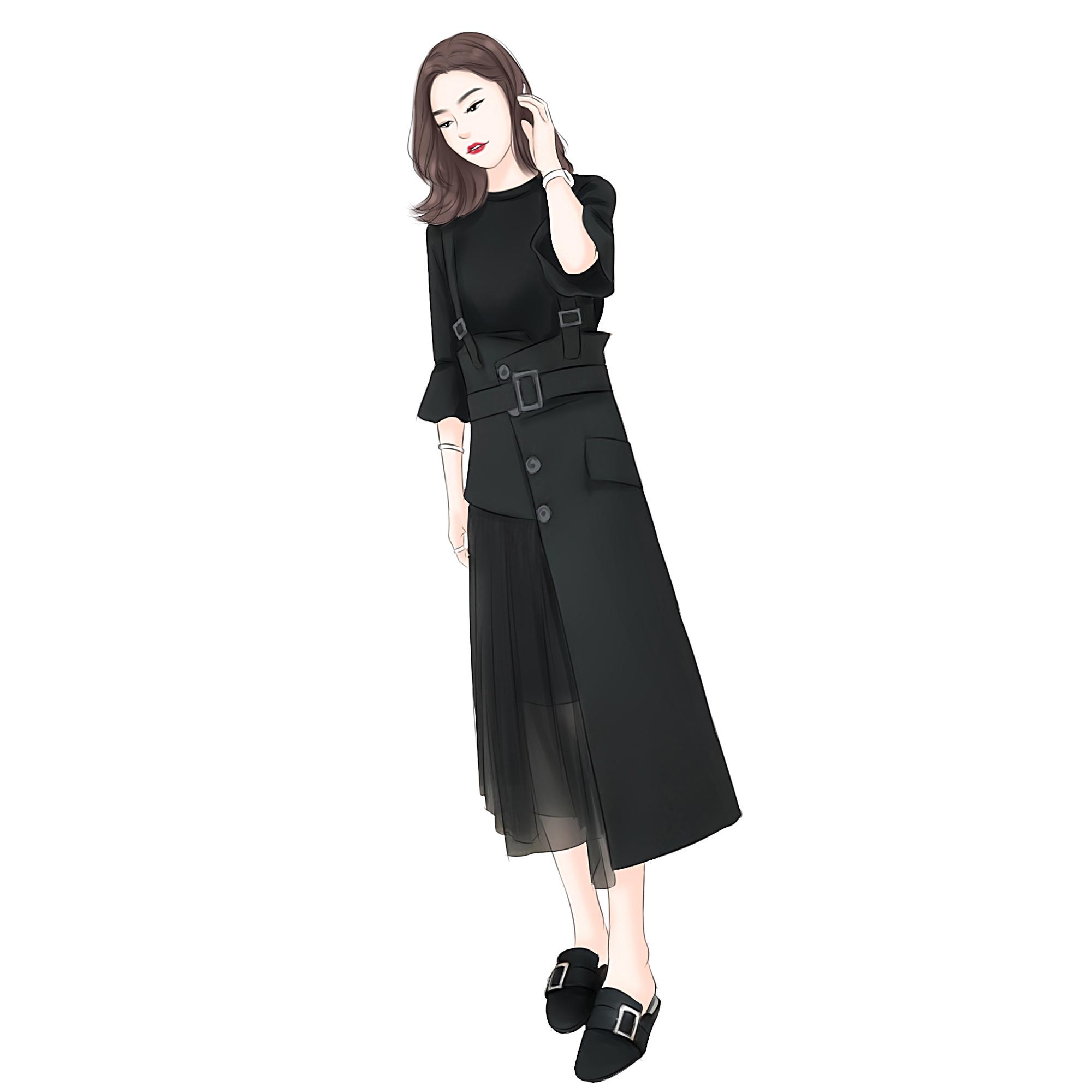 初秋女装2018新款韩版气质两件套连衣裙子喇叭袖背带长裙黑色套装