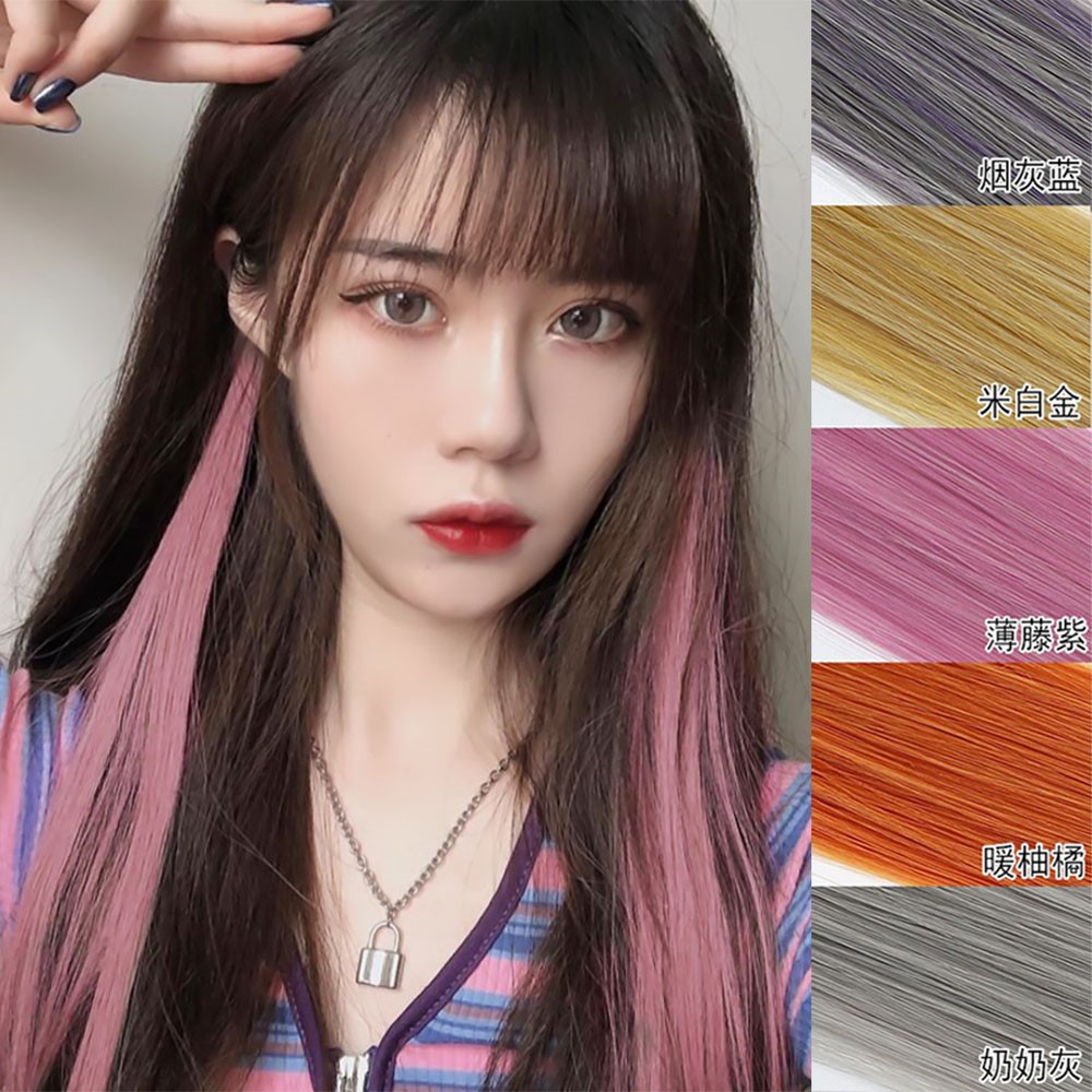A piece of color hair piece invisible and traceless short hair connector bundle highlights hair piece