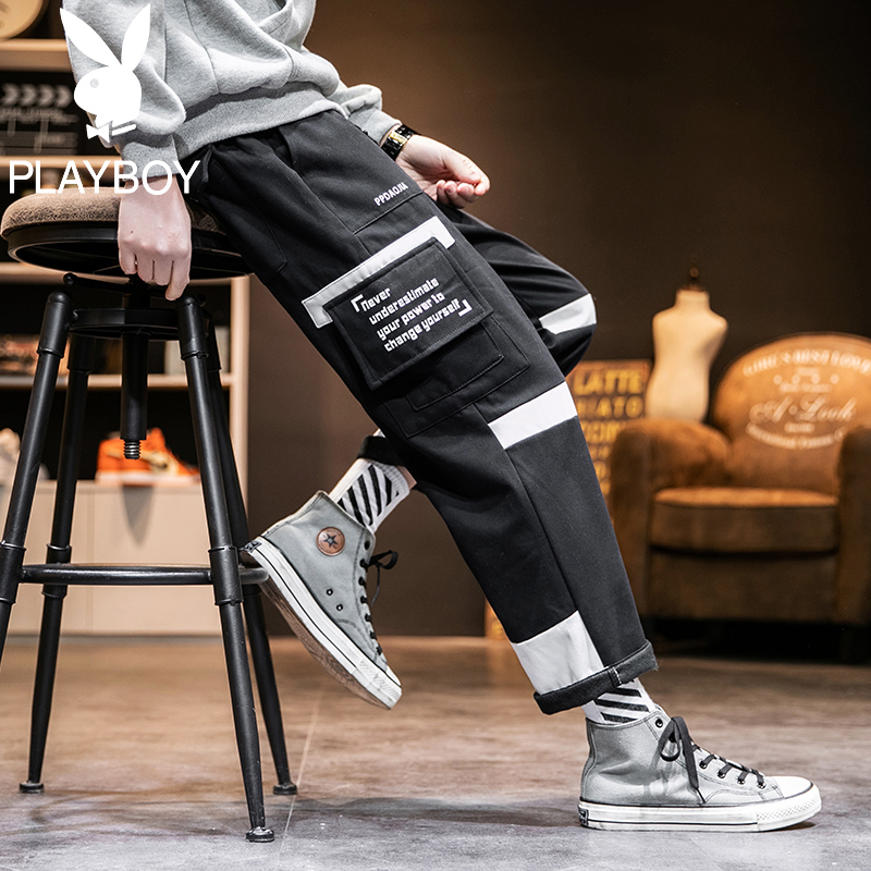 Playboy overalls mens fashion brand wide leg daddy pants straight loose casual pants 2020 new Korean fashion